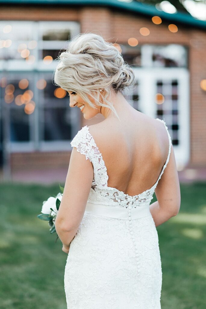 Bridal portraits, wedding dress ideas, high collar wedding dress, wedding bouquet ideas, wedding hair ideas, wedding hairstyle ideas, wedding hairstyles, low back wedding dresses