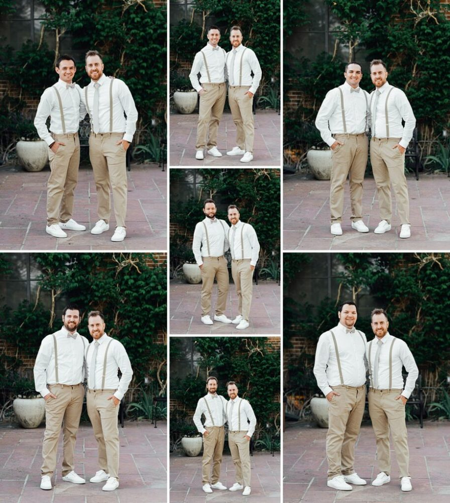 Groomsmen photo ideas, groomsmen outfit ideas, groomsmen suspenders, groomsmen khaki outfits