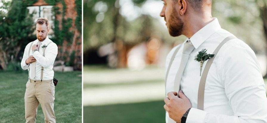 Groom photo ideas, groom outfit ideas, no jacket groom outfit ideas, groom suspenders, white and khaki groom outfit, summer groom outfit, summer wedding male outfit, groom boutonniere ideas