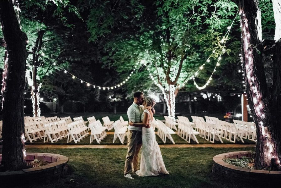 Night time wedding photos, string light wedding photos