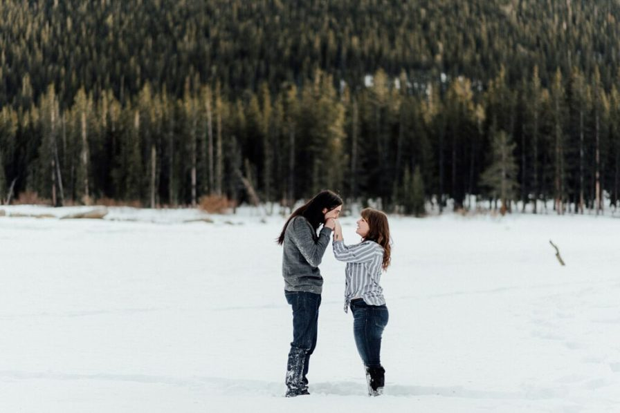 Engagement photos on Echo Lake during the winter months