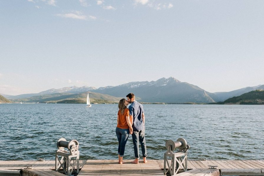 Lake Dillon engagement photos at the dock