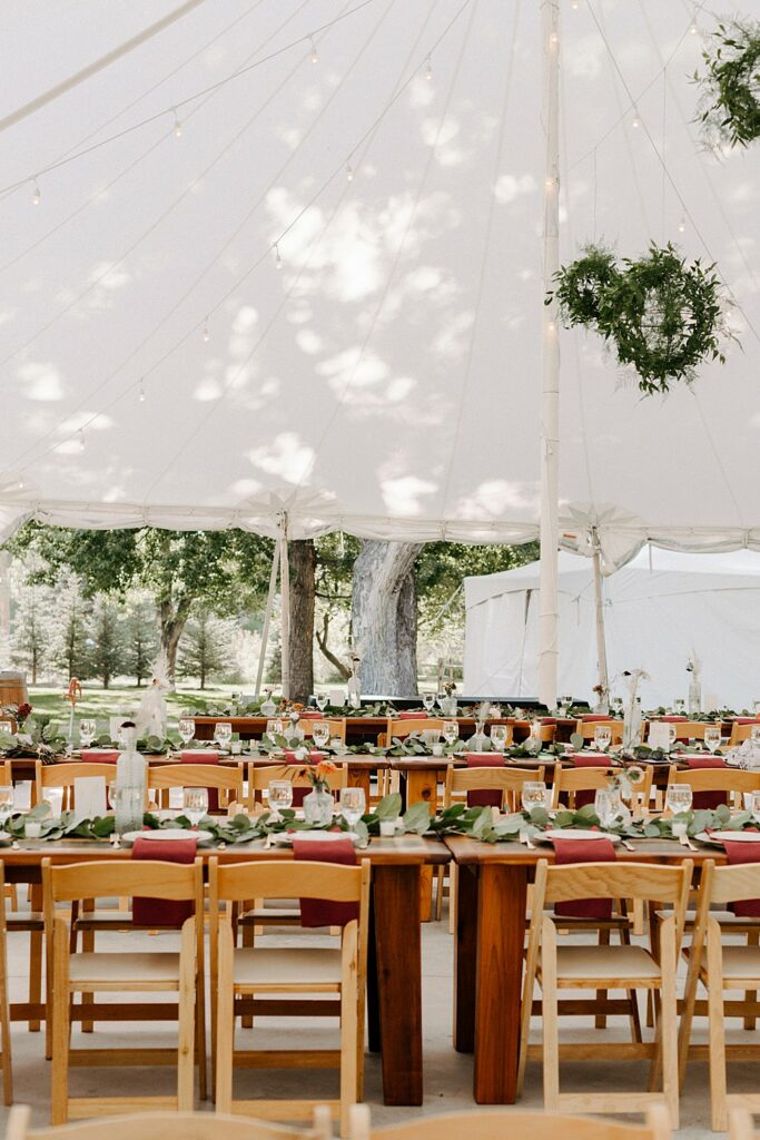reception tent for River Bend summer wedding