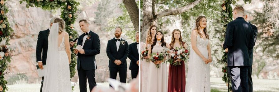 groom reads vows to his bride