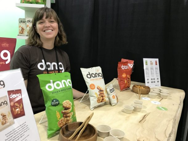 Gluten-free sticky rice crackers from Dang at WFFS17