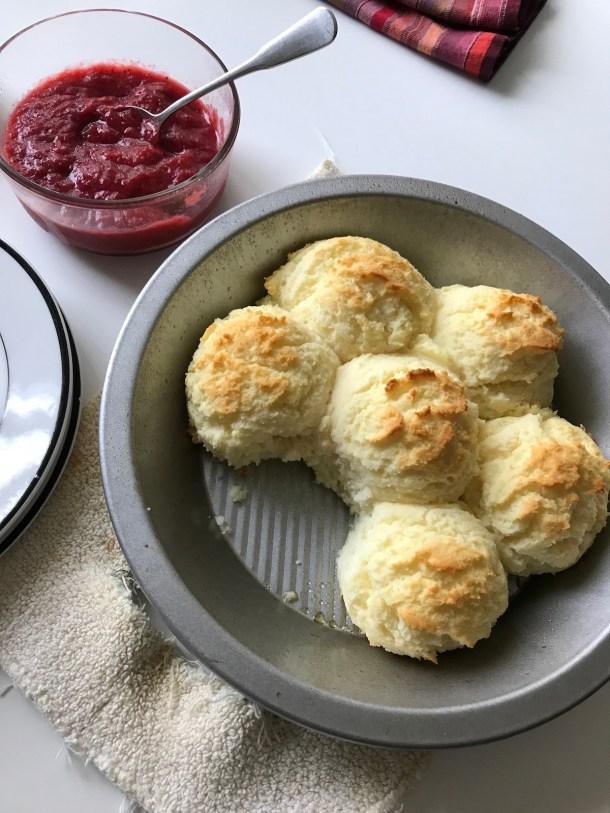 Biscuits with Strawberry Rhubarb Butter   Erika's Gluten-free Kitchen erikasglutenfreekitchen.com