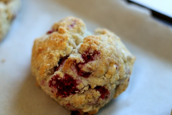 Single Plate of gluten free raspberry and white chocolate scone | Erika's Gluten-free Kitchen www.erikasglutenfreekitchen.com