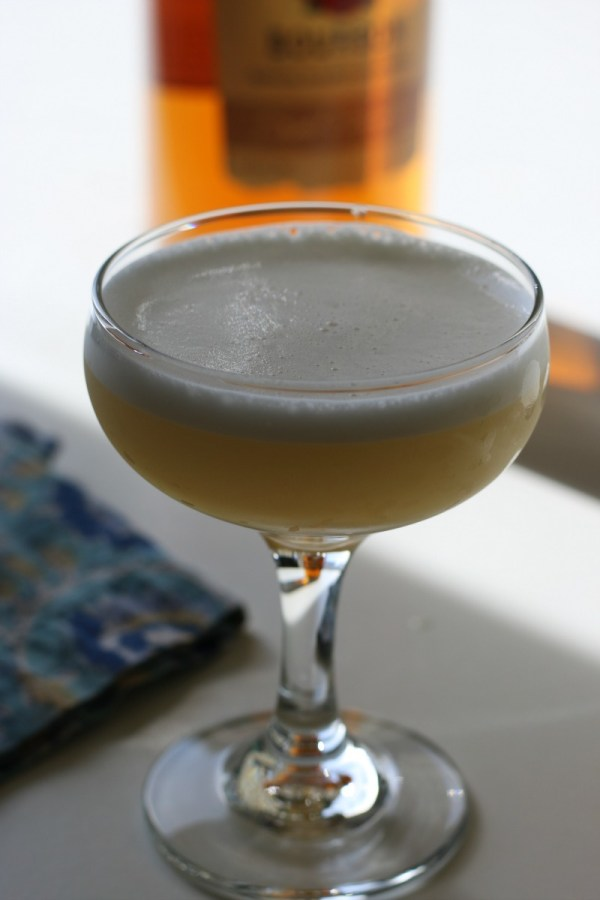 A Boston Sour Cocktail in a coupe glass.