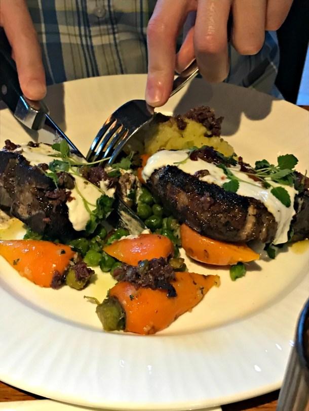 Grange Lamb T bone steak with vegetables