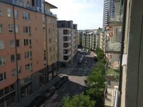 View from my flat's balcony; this new area is called Hornsberg; built on reclaimed industrial land it's only 3 stops on the metro to the city center