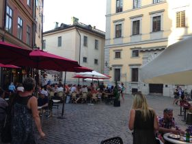 Järntorget, a popular square for outdoor dining