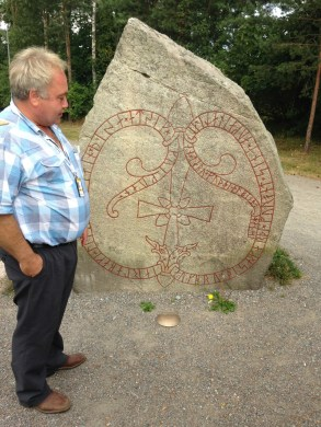 My enthusiastic and knowledgable guide Urban; this rune stone is at a place called Jarlabankes bro.