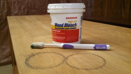 Pic 5 - Water marks were treated with Savogran wood bleach (oxalic acid), applied with a toothbrush per manufacturer's directions.