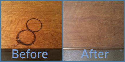 Pic 6 - Before and after treatment of water marks.