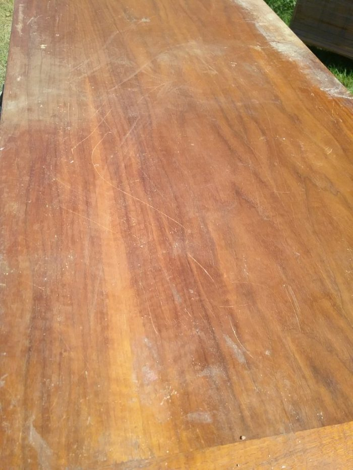 Top of the Lane Rhythm dresser. Note the scratches and loss of finish. September 2018.