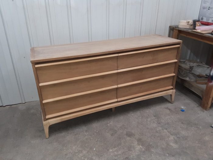 Lane Rhythm dresser stripped, sanded, and awaiting stain. January 2019.