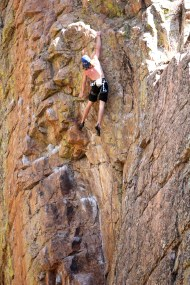 John LeValley hucks for it in the Poudre Canyon