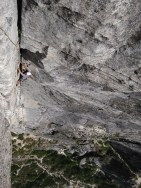 Paul following the money pitch of Corrugation Corner at Lover's Leap