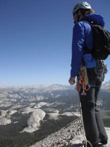 Erik Thatcher on the summit of Cathedral Peak