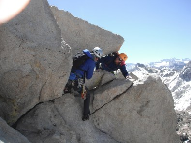 Erik greeting Chad on the summit of Cathedral Peak
