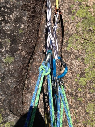 The Sweetness. I've refined my kit for all this alpine climbing. Super light Mammut Twilight ropes (7.5), quadruple length Dynema sling for quad anchors and light weight lockers and belay device.