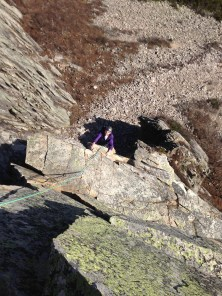"""Jack just after the crux """"Pipe Pitch"""" Move P4"""