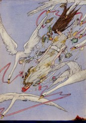 """""""And the Whole Day they Flew Onward"""" Illustration from Wild Swans Harry Clarke"""