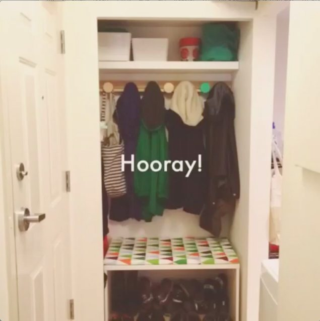 Families in apartments: closet to mini-mudroom DIY