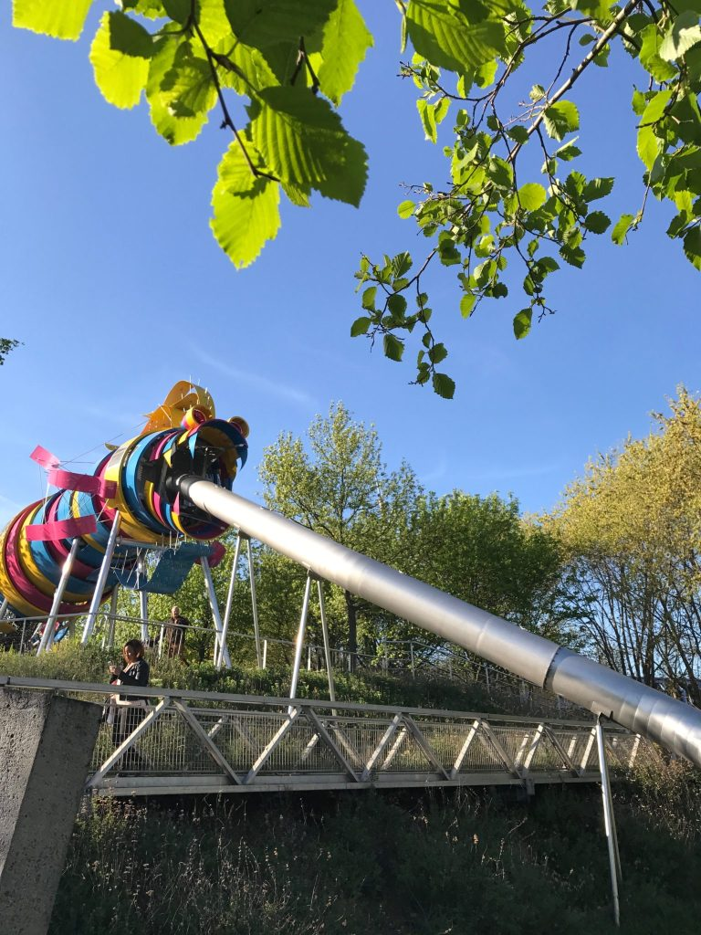 paris with kids - parc de la villette dragon slide