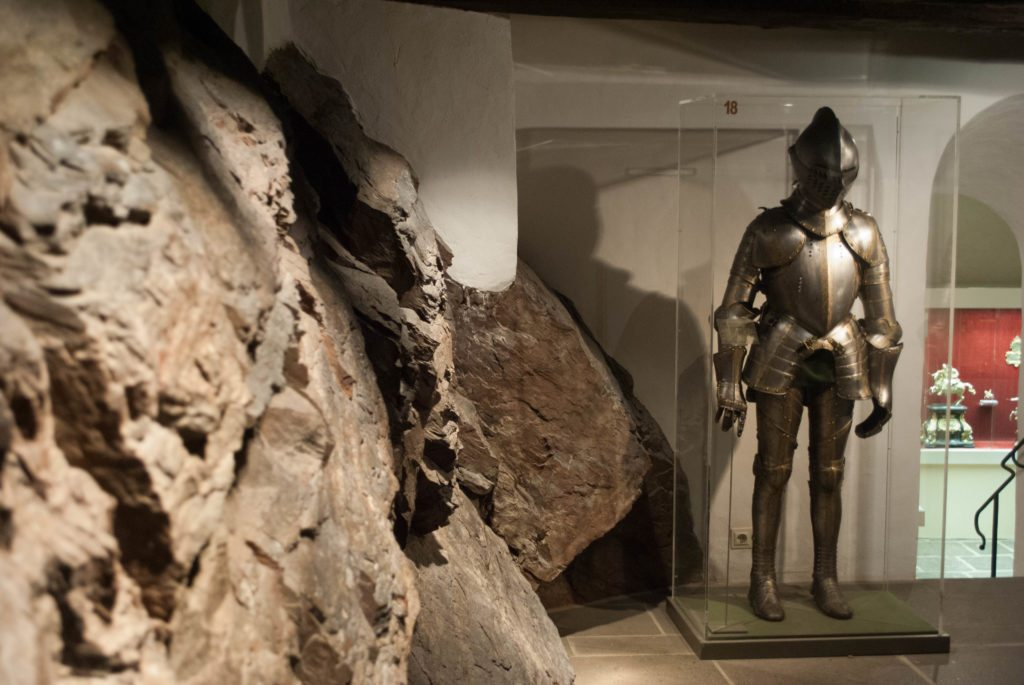 A suit of armour in the treasury at Burg Eltz.