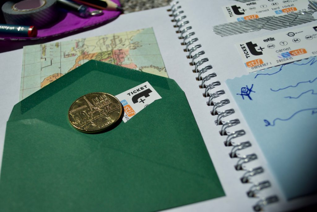 Putting little envelopes in the journal means you can capture little souvenirs.