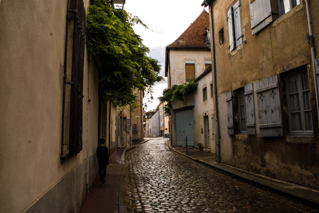 Beautiful streets of Beaune after a rainfall.