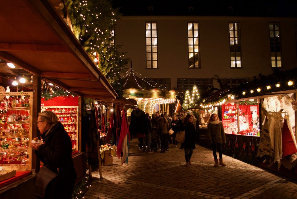 Carousels and gift stalls at a German Christmas Market