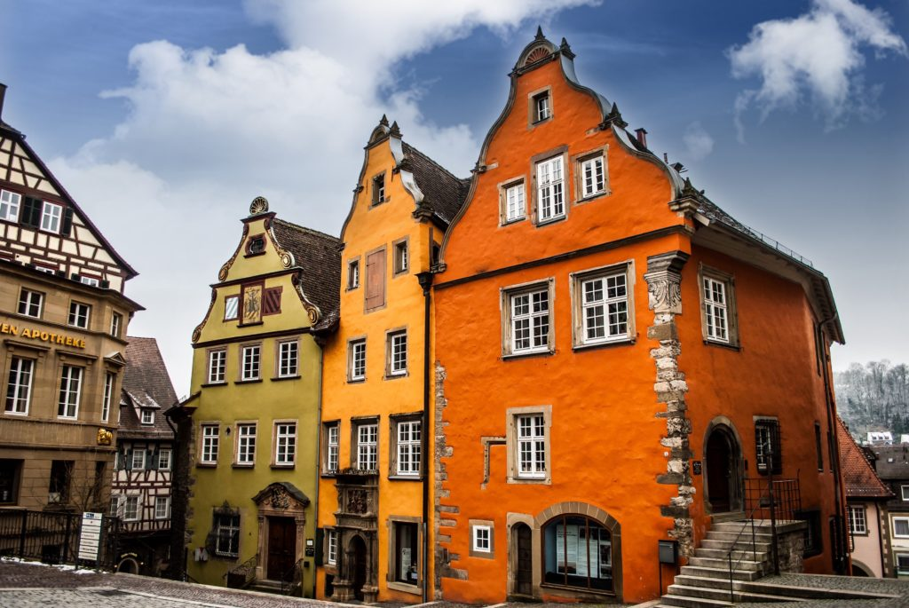Colourful houses face the Marktplatz