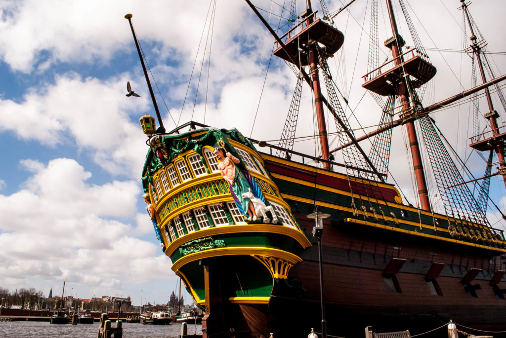 The beautiful Amsterdam, a replica 18th-century Dutch trading ship built by young people in the 1980s