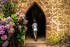 My son exploring the chapel at Burg Berwartstein