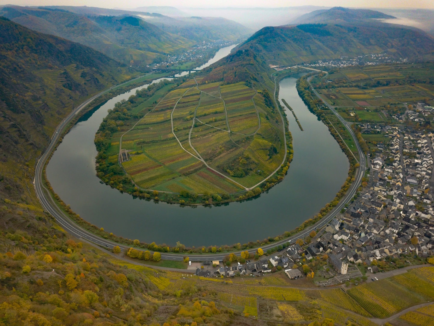 The river Mosel makes an impressive hairpin turn near the town of Bremm.