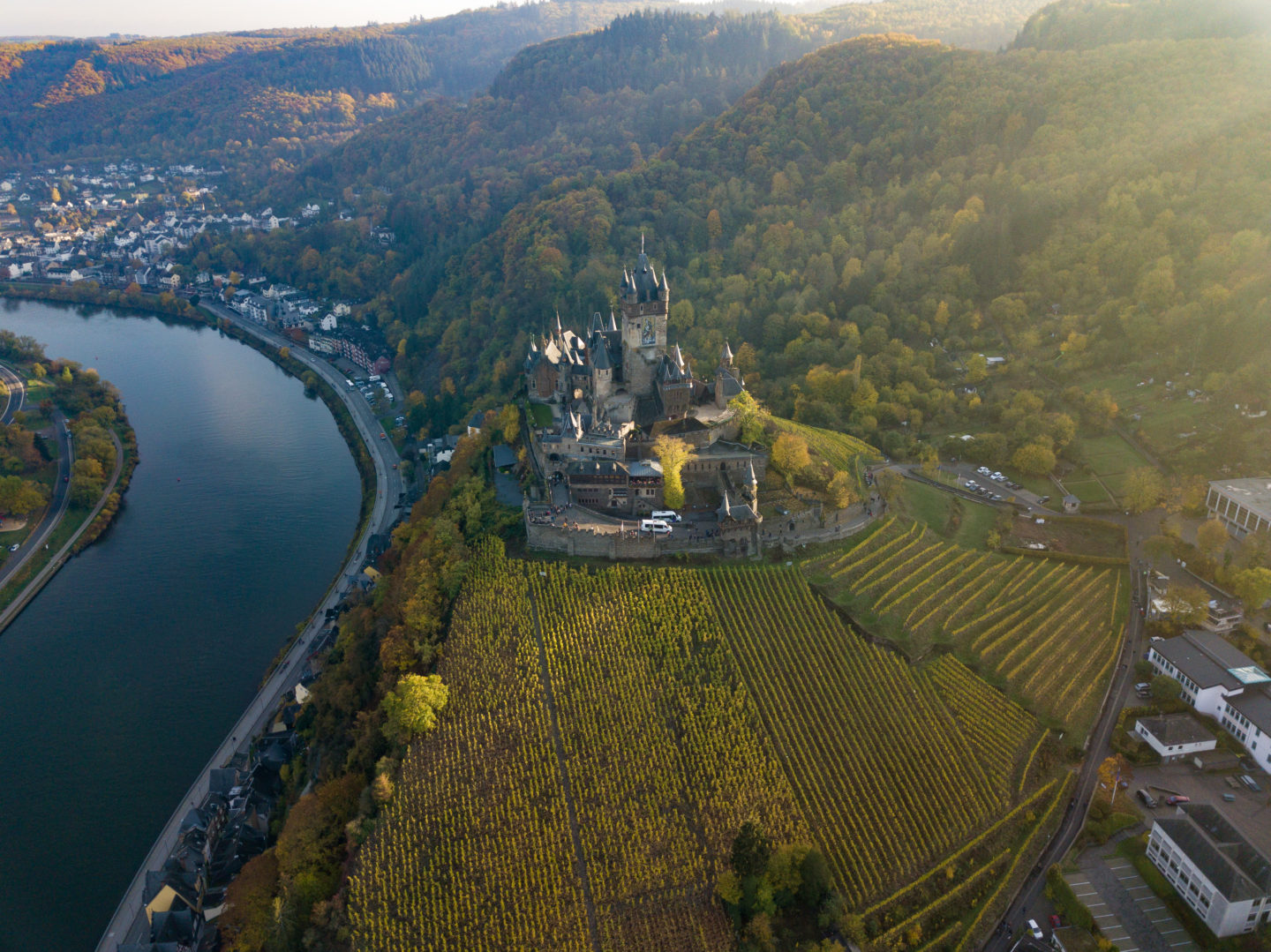 The Cochem Castle above the town