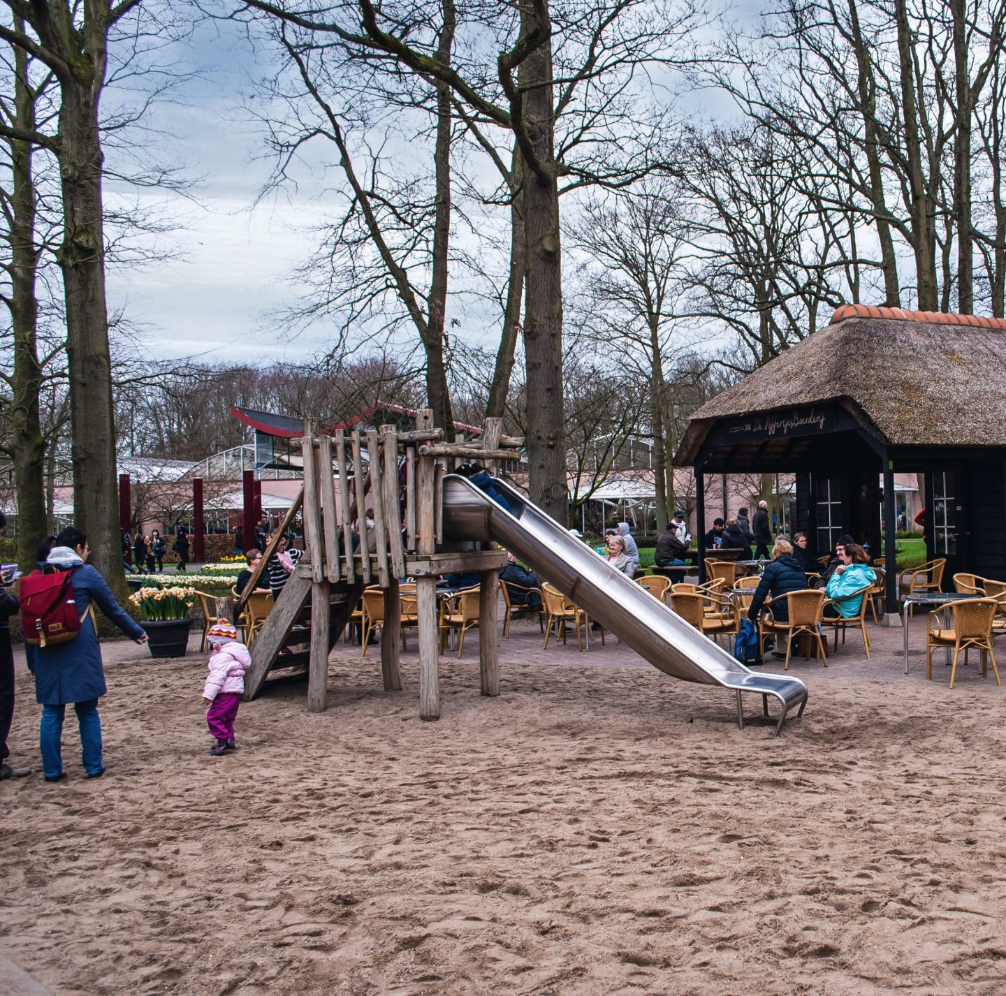 Playground plus coffee hut at Keukenhof. Other botanical gardens, take note!