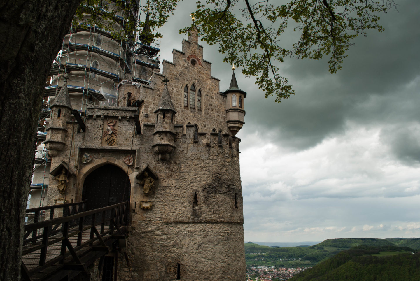 Schloss Lichtenstein with dramatic weather.
