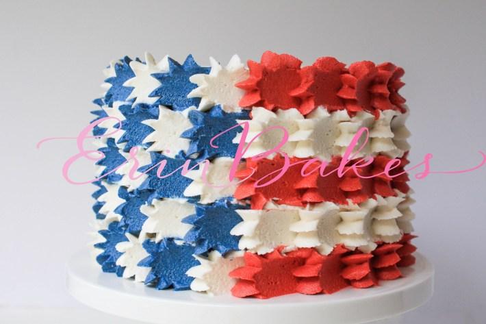 Buttercream Stars and Stripes 4th of July Cake   Erin Gardner
