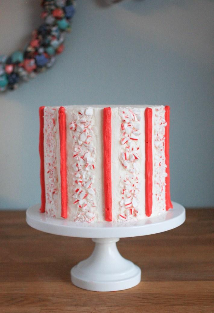 Candy Cane Buttercream Stripe Cake   Erin Gardner