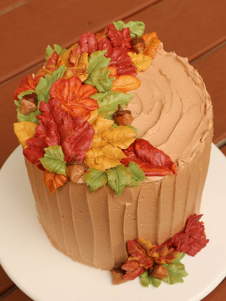 Piped Buttercream Fall Leaves