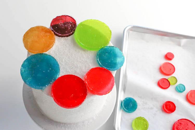 Arranging the Candy Circles on the Cake | Erin Bakes | Erin Gardner