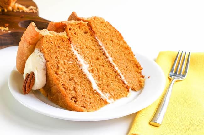 Slice of Layered Pumpkin Cake Pie | Erin Gardner | ErinBakes.com