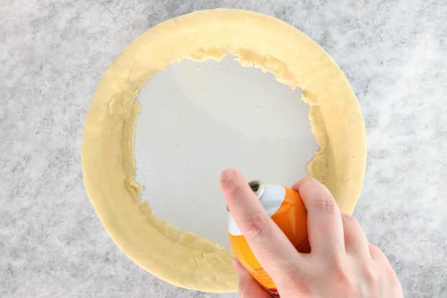 Spraying the pie pan | Erin Gardner