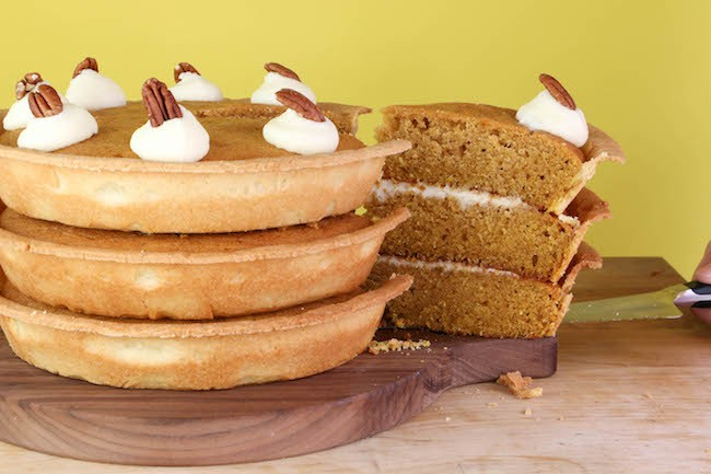 Pumpkin Pie Layer Cake filled with Cream Cheese Frosting