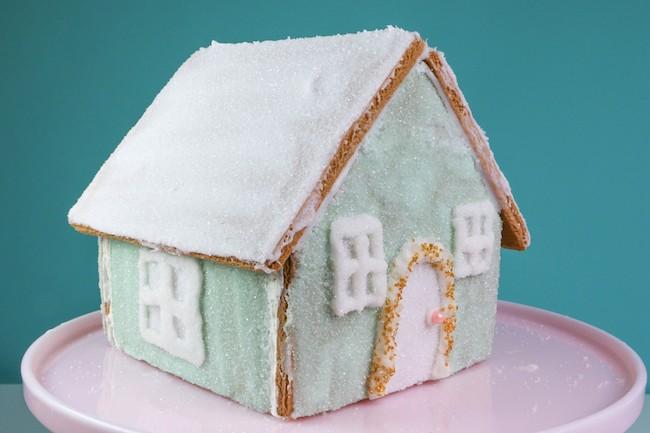 Assembled Gingerbread House Before Decorating | Erin Bakes | Erin Gardner