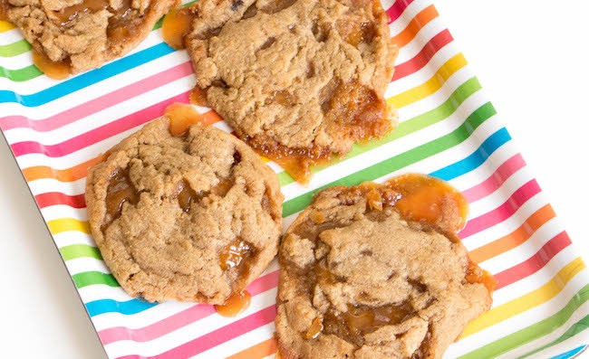 Procrastibaking Brown Sugar Butter Crunch Cookies on a Rainbow Platter by Erin Gardner