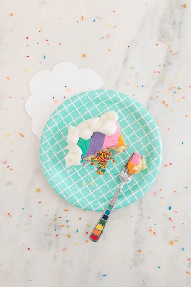 Slice of Vanilla Sheet Cake Filled with Rainbow Sprinkles  | Erin Gardner | Erin Bakes